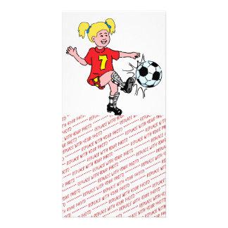 Little Girl Playing Soccer Card