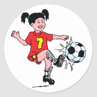 Little Girl Playing Soccer Classic Round Sticker