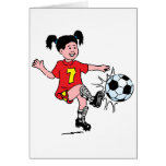 Little Girl Playing Soccer Greeting Card