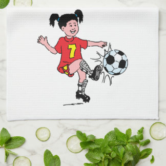 Little Girl Playing Soccer Kitchen Towels