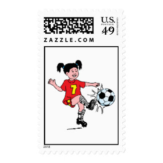Little Girl Playing Soccer Postage Stamps