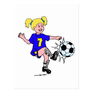 Little Girl Playing Soccer Postcard