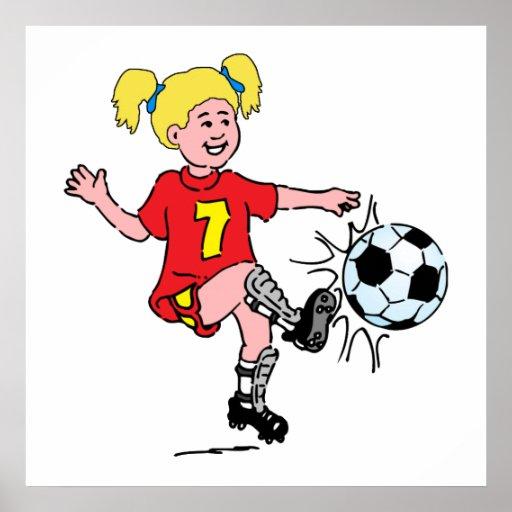 Little Girl Playing Soccer Poster
