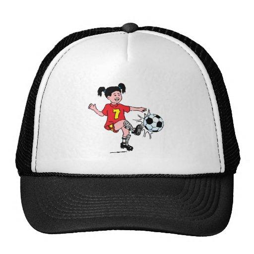 Little Girl Playing Soccer Trucker Hat