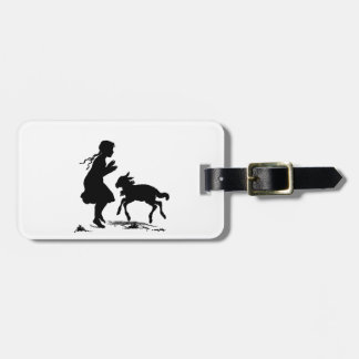 Little Girl Plays with Lamb Luggage Tag