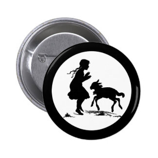 Little Girl Plays with Lamb Pinback Button