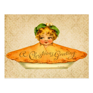 Little Girl popping out of Christmas Pie Postcard