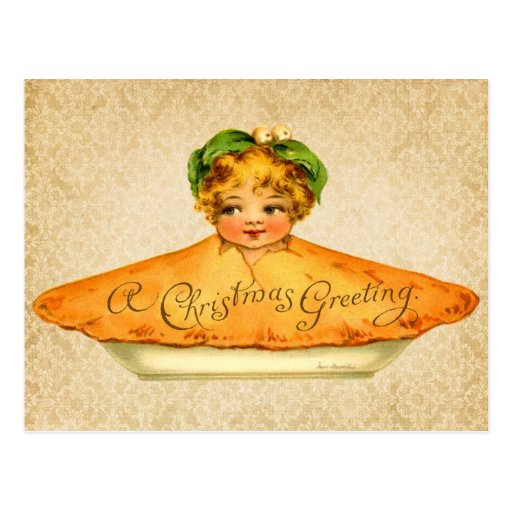Little Girl popping out of Christmas Pie Post Cards