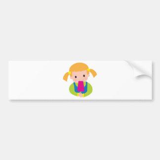Little Girl Popsicle Bumper Sticker