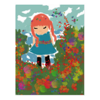 little girl postcard