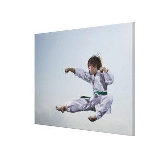 Little girl practicing karate canvas print