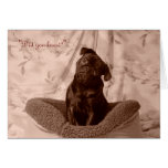 Little Girl Pug Valentine's Day Greeting Card