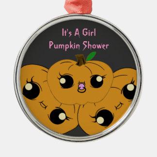 Little Girl Pumpkin Baby Shower Ornaments