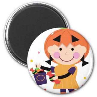 LITTLE GIRL PUMPKIN HEAD Autumn Edition Magnet