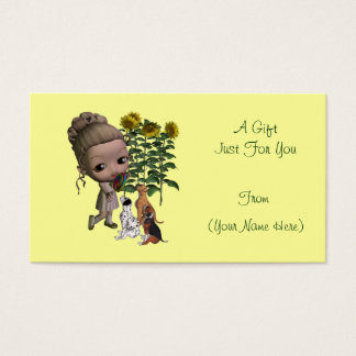 Little Girl Puppies Personalized Gift Card Tag
