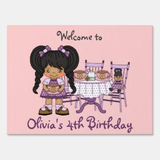 Little Girl Purple Tea Party Yard Sign