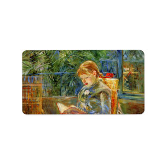 Little girl, reading by Berthe Morisot Personalized Address Labels