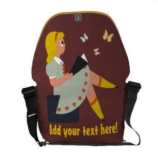 Little Girl Reading Courier Bag