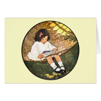 Little Girl reading in a hammock Greeting Card