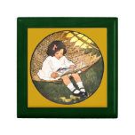 Little Girl reading in a hammock Jewelry Boxes