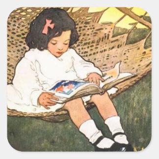 Little Girl reading in a hammock Square Sticker
