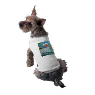 Little Girl Reading in the Garden Designer Art Doggie Tee Shirt