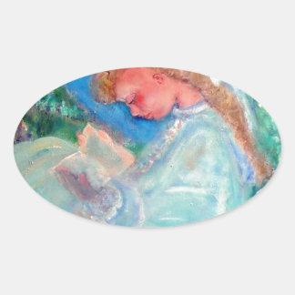 Little Girl Reading in the Garden Designer Art Oval Sticker