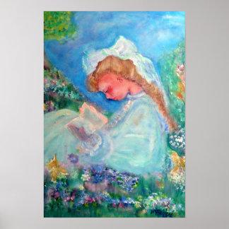 Little Girl Reading in the Garden Designer Poster