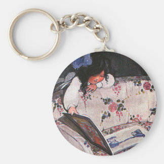 Little Girl reading over sofa Basic Round Button Keychain