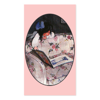 Little Girl reading over sofa Double-Sided Standard Business Cards (Pack Of 100)
