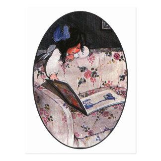 Little Girl reading over sofa Postcard