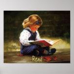 Little Girl Reading Poster