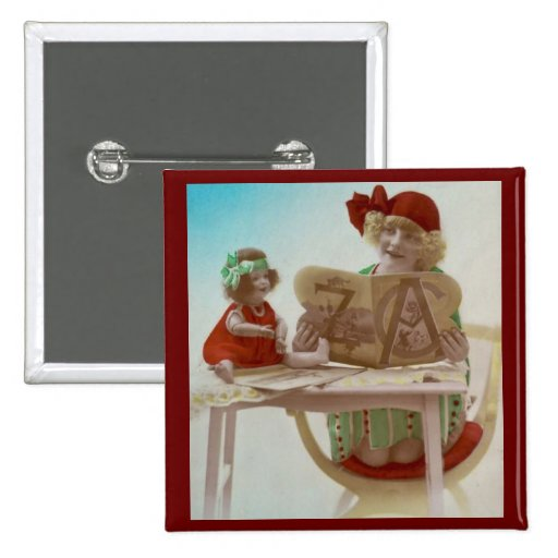 Little Girl Reading to Her Dollie - Vintage Card Pin