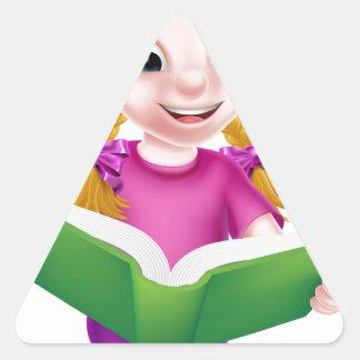 Little Girl Reading Triangle Sticker