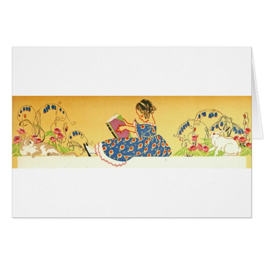 Little Girl reading with bunnies Card