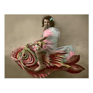 Little Girl Riding a Fish Postcard