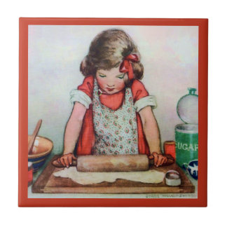 Little Girl Rolling Pastry Dough in the Kitchen Ceramic Tile