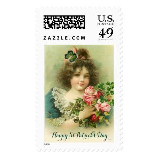 Little Girl Roses and Shamrocks St.Patrick's Day Postage