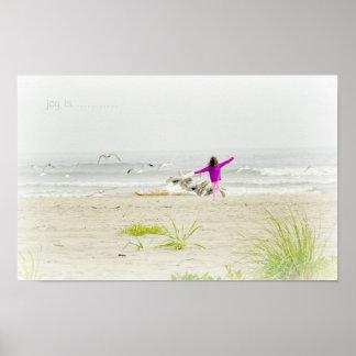 Little girl running on beach Poster