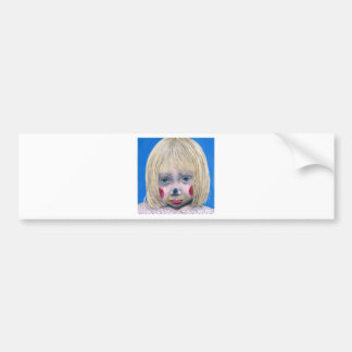 Little Girl Sad Clown Bumper Sticker