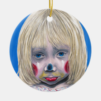 Little Girl Sad Clown Ceramic Ornament