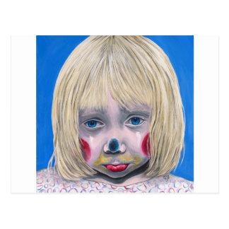 Little Girl Sad Clown Postcard