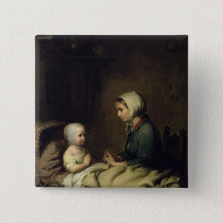 Little Girl Saying Her Prayers in Bed Pinback Button