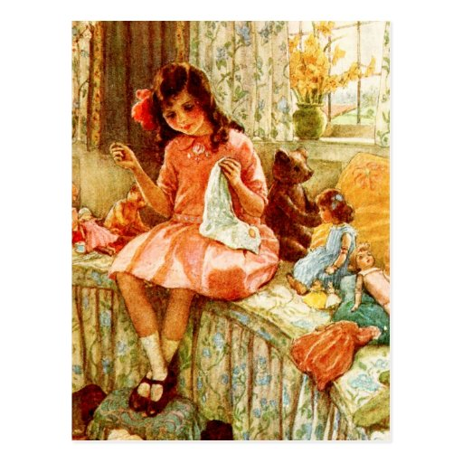 Little Girl Sewing Postcards