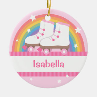 Little Girl Skater Rainbow and Stars Ornament