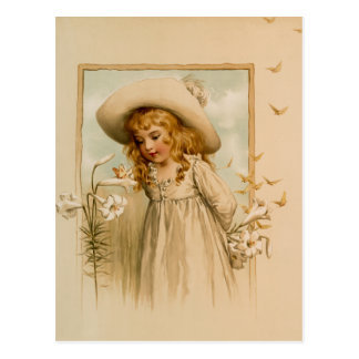 Little Girl Smelling Flowers in Straw Hat Postcard