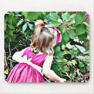 Little Girl Smelling the Flowers Mouse Pad