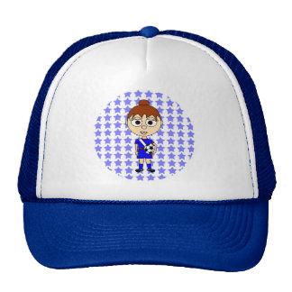 Little Girl Soccer Star Blue Brown Hair Trucker Hat