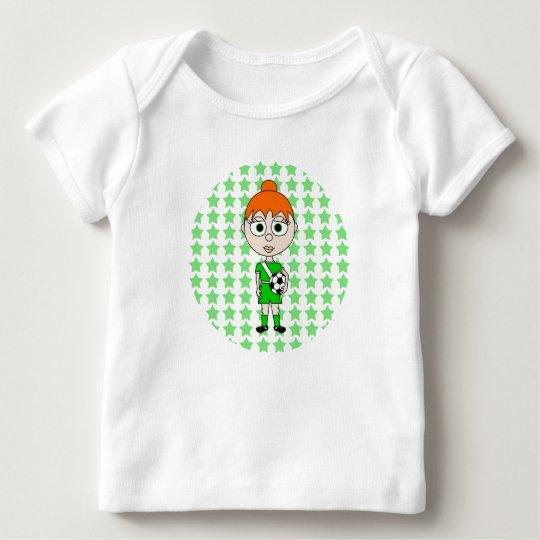 Little Girl Soccer Star Green Red Hair Baby T-Shirt