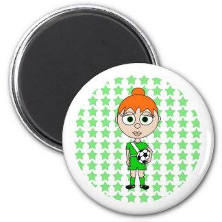 Little Girl Soccer Star Green Red Hair Magnet